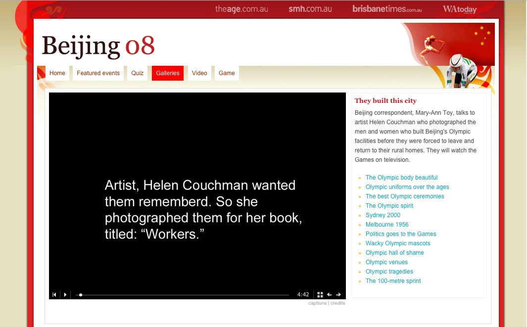 Slideshow for The Age newspaper by Mary-Ann Toy about WORKERS by Helen Couchman 2008 2